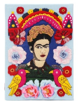 Olympia Le-Tan Frida Embroidered Book Clutch - Blue Multi