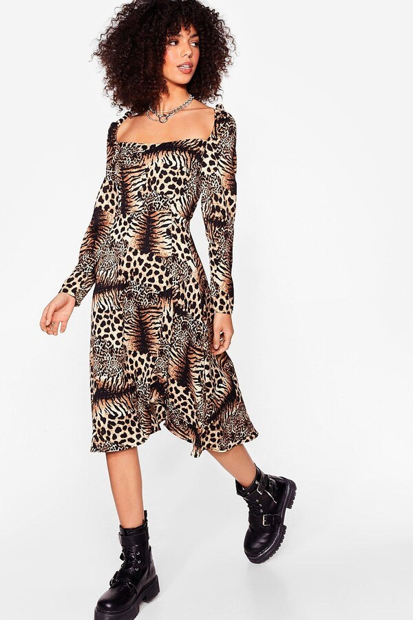 Thumbnail for your product : Nasty Gal Womens Leopard Long Sleeve Square Neck Midi Dress - Brown - 12