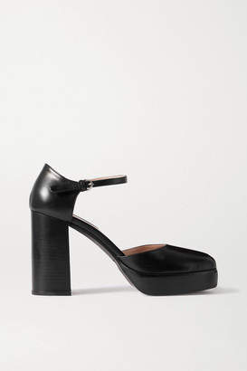 Miu Miu Leather Platform Pumps - Black