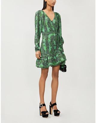 Rotate by Birger Christensen Nancy snakeskin-print woven mini dress