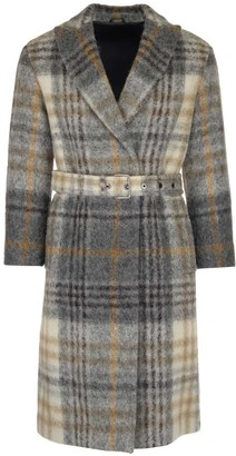 Brunello Cucinelli Belted Checkered Trench Coat