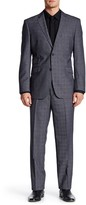 English Laundry Grey Plaid Two Button Notch Lapel Suit