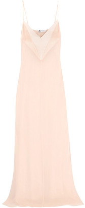 Lanvin Satin And Velvet-paneled Silk-georgette Gown