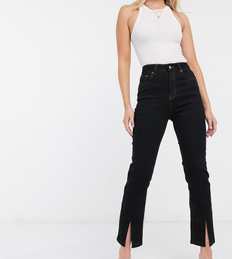 ASOS DESIGN high rise 'sassy' cigarette jeans with split hem in black