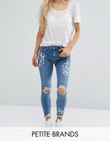 New Look Petite Blossom Embroidered Skinny Jeans