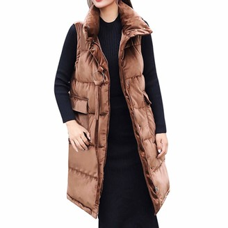 Kalorywee Coats KaloryWee Long Down Vest Women's Cotton Padded Zip Up Front Quilted Puffer Jacket with Hood Coffee