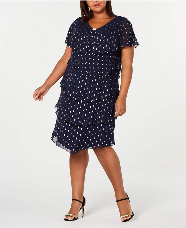 Plus Size Metallic-Dot Tiered Dress