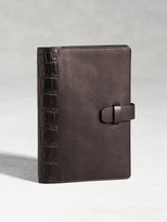 John Varvatos Medium Calfskin Notebook Case With Crocodile Overlay