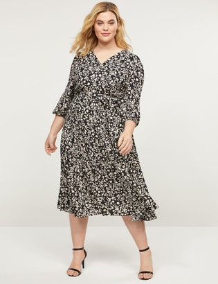 Lane Bryant Floral Pleated Fit & Flare Midi Dress