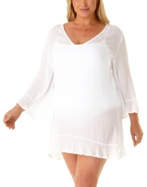 Anne Cole Plus Size Flounce Tunic Cover Up Dress Women's Swimsuit