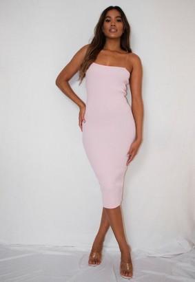 Missguided Petite Pink Transparent Strap Knit Midi Dress