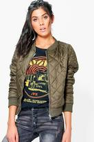 Boohoo Caitlin Quilted Bomber With Contrast Lining