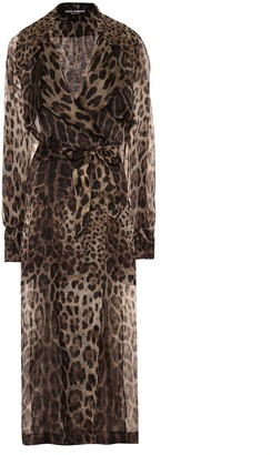 Dolce & Gabbana Leopard-print silk trench coat