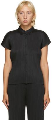 Pleats Please Issey Miyake Black Short Sleeve Shirt