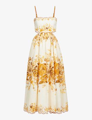 Zimmermann Aliane floral-print linen midi dress