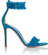 Gianvito Rossi Women's Fringed Portofino Ankle-Strap Sandals-TURQUOISE