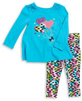 Kids Headquarters Girls 2-6x Heart Applique Top and Patterned Leggings Set