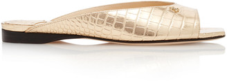 Jimmy Choo Jynx Metallic Croc-Effect Leather Sandals