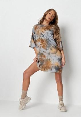 Missguided Brown Tie Dye Rib Basic T Shirt Dress