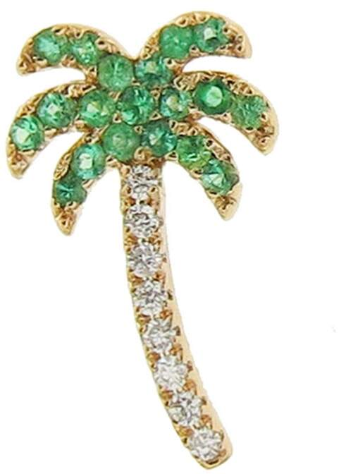 Sydney Evan Emerald Palm Tree Single Stud Earring - Right