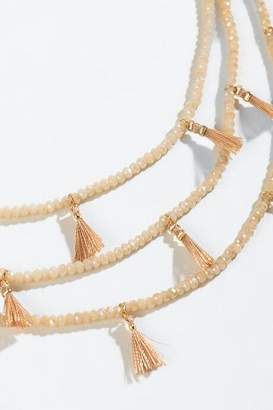 francesca's Noral Beaded Tassel Layered Necklace - Mauve