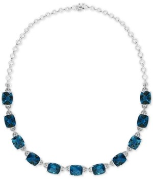 "Effy London Blue Topaz (77-1/2 ct. t.w.) & Diamond (1-1/5 ct. t.w.) 16"" Collar Necklace in 14k White Gold"