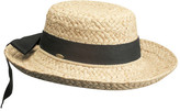 Scala Women's L521OS Straw Hat with Herringbone Bow