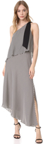 Halston One Shoulder Stripe Dress