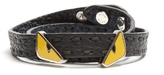 Fendi Bag Bugs double-wrap leather bracelet