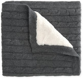 Elegant Baby Cable Knit Blanket with Faux Fur Backing