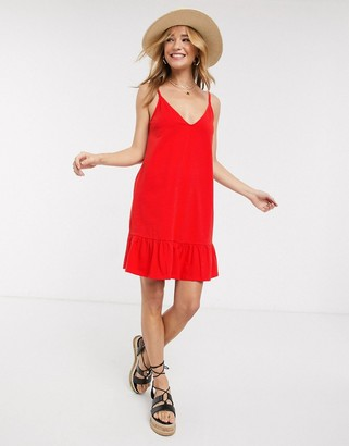 ASOS DESIGN v front mini sundress with pep hem in red