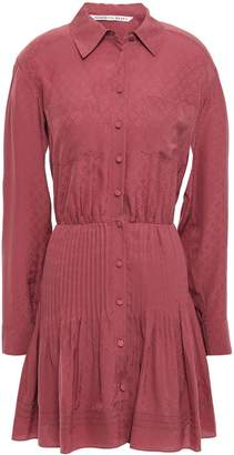 Veronica Beard Currant Pintucked Silk-jacquard Mini Shirt Dress