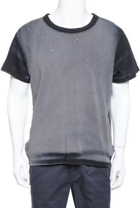 Amiri Black & Grey Cotton Washed Out Effect Shotgun T Shirt S
