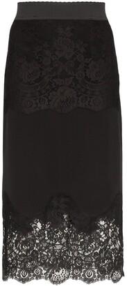 Dolce & Gabbana Lace-Insert Pencil Skirt