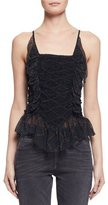 Etoile Isabel Marant Bowen Ruched Patterned Silk Tank, Black
