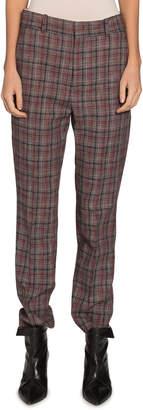 Isabel Marant Sonnel Check Flat-Front Pants