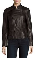 T Tahari Carry Zip-Up Leather Jacket