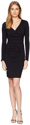 Susana Monaco Long Sleeve Gathered Wrap Dress (Black) Women's Dress