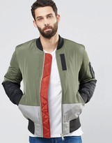 Asos Cut and Sew Bomber Jacket with MA1 Pocket In Khaki