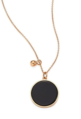 ginette_ny Ever Onyx & 18K Rose Gold Round Pendant Necklace