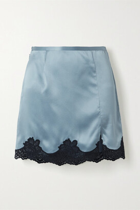 Fleur Du Mal James Lace-trimmed Washed Silk-satin Mini Skirt - Light blue