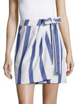 La Via 18 Striped Wrap Cotton Skirt