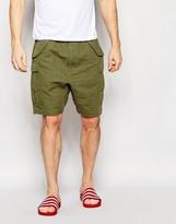 Asos Slim Shorts With Cargo Styling In Khaki
