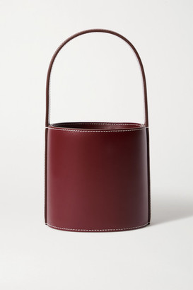 STAUD Bissett Mini Leather Bucket Bag - Burgundy