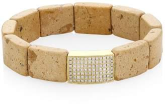 Sydney Evan 14K Yellow Gold, Riverstone & Diamond Pave Spacer Stretch Bracelet