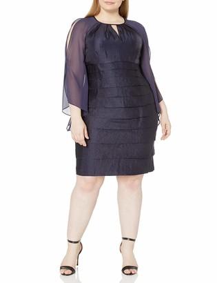 London Times Women's Plus Size Long Sleeve Round Neck Sheath Dress w. Keyhole