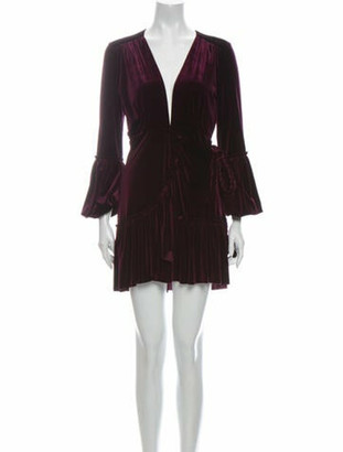 MISA Plunge Neckline Mini Dress Purple Plunge Neckline Mini Dress