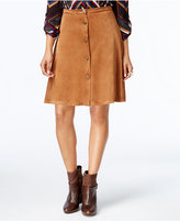 NY Collection Petite Faux-Suede A-Line Skirt
