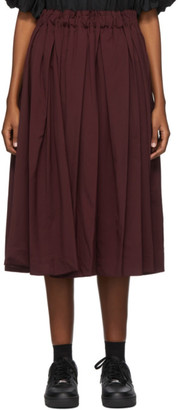 Comme des Garcons Burgundy Wool Gabardine Pleated Skirt