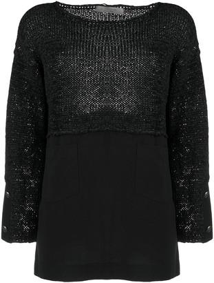 D-Exterior Contrast-Hem Knitted Top